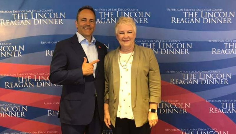 Paula Whitsell of Chula Vista, second vice chair of the San Diego County Republican Party, posed with then-Kentucky Gov. Matt Bevin at a party event in June 2019.