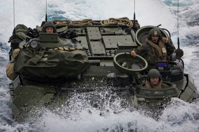 A Marine Corps AAV in the ocean