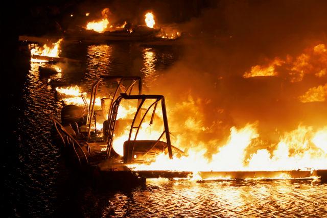 Boats burn on Lake Berryessa