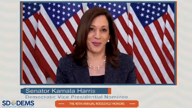"Vice presidential nominee Kamala Harris gave a pep talk: ""San Diego County Democrats, you know that we are better than the failed leadership coming out of the White House. This is the moment where we are called upon to fight for the ideals of the country we love — for the rule of law, for our system of justice and for our very democracy."""