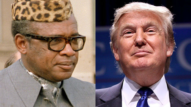 Former Zaire President Mobuto Seso Seko and President Donald Trump.