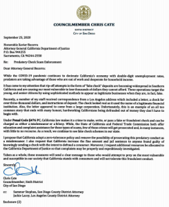 Councilman Cate letter to state Attorney General Becerra.