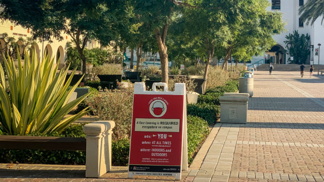 Social distancing sign at SDSU