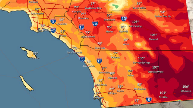 Forecast high temperatures on Sunday