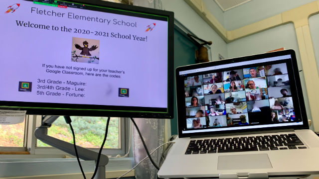 An elementary school class via Zoom