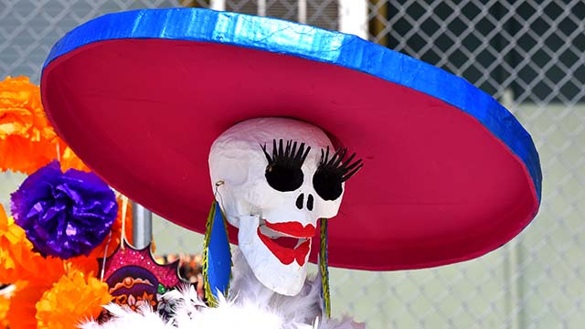 La Catrina statues and paintings in abundance at the Día de los Muertos celebration Ot. 17, put on by the City Heights where visitors voted for their favorite altar.