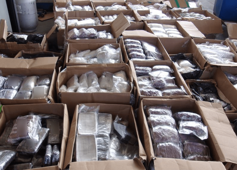 Packages of illicit drugs.