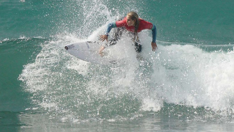 Samantha Sibley of San Clemente rides a wave in the quarterfinals during the Nissan Super Girl Surf Pro .