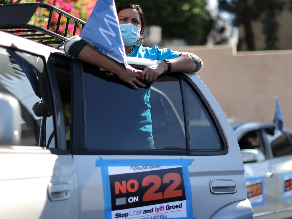 An Uber driver protesting.