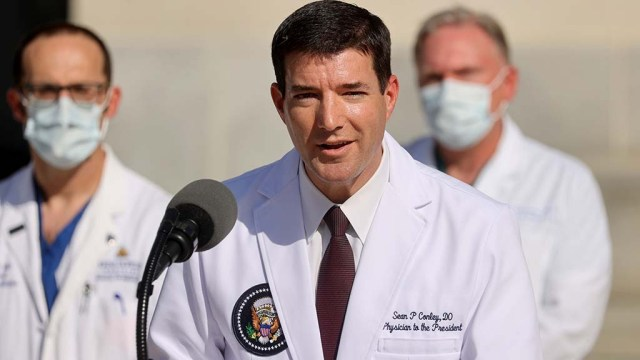 U.S. Navy Commander Dr. Sean Conley, the White House physician, talks to the media Oct. 3 about Donald Trump's health after the president was hospitalized for coronavirus disease treatment at Walter Reed National Military Medical Center, in Bethesda, Maryland.