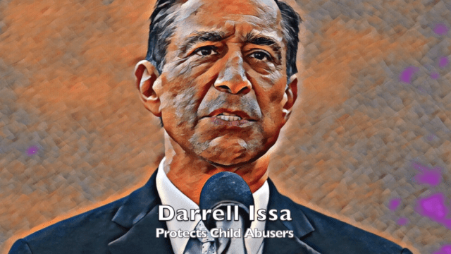 "Image of Darrell Issa in video labeled ""A message from Q."""