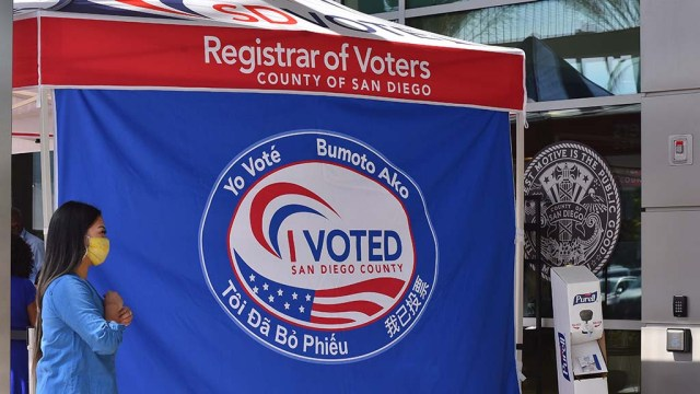 In-person early voting has begun at the San Diego Registrar of Voters office in Kearny Mesa.