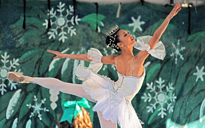Kanna Kitsunia plays the Snow Queen in a drive-in performance of Nutcracker at Liberty Station.