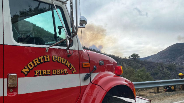 North County Fire Protection District engine at the Creek Fire