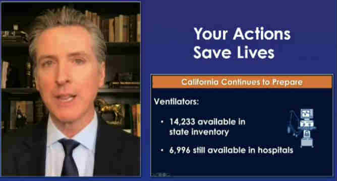Gov. Gavin Newsom speaks on a livestream
