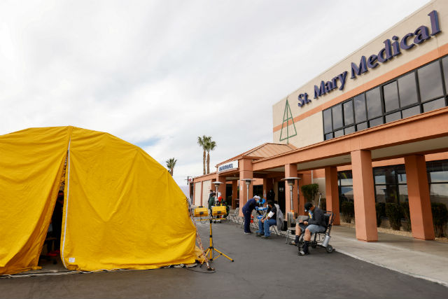Tent outside hospital in Apple Valley