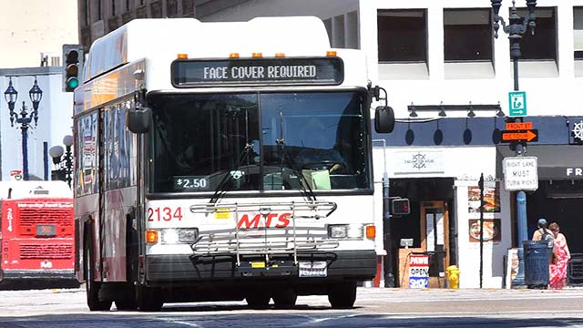 Riders on MTS buses wear face coverings. Photo by Chris Stone