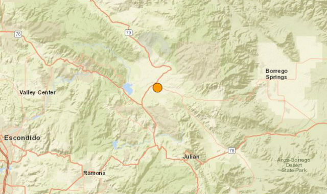 Location of the earthquake in East County
