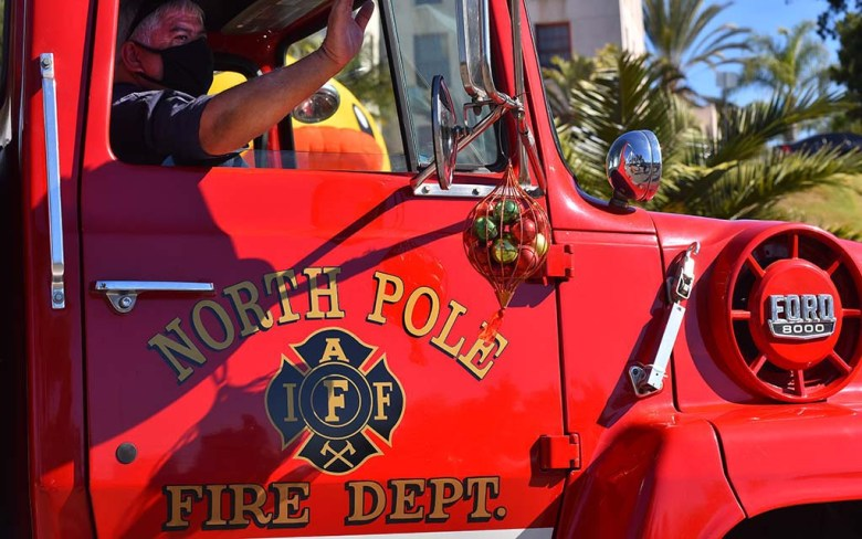 Even a fire truck from the North Pole stopped by to join the city officials as they officially started the event.