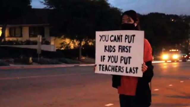 Several dozen students protested school reopening plans last Thursday before a San Dieguito school board meeting. Image via video.