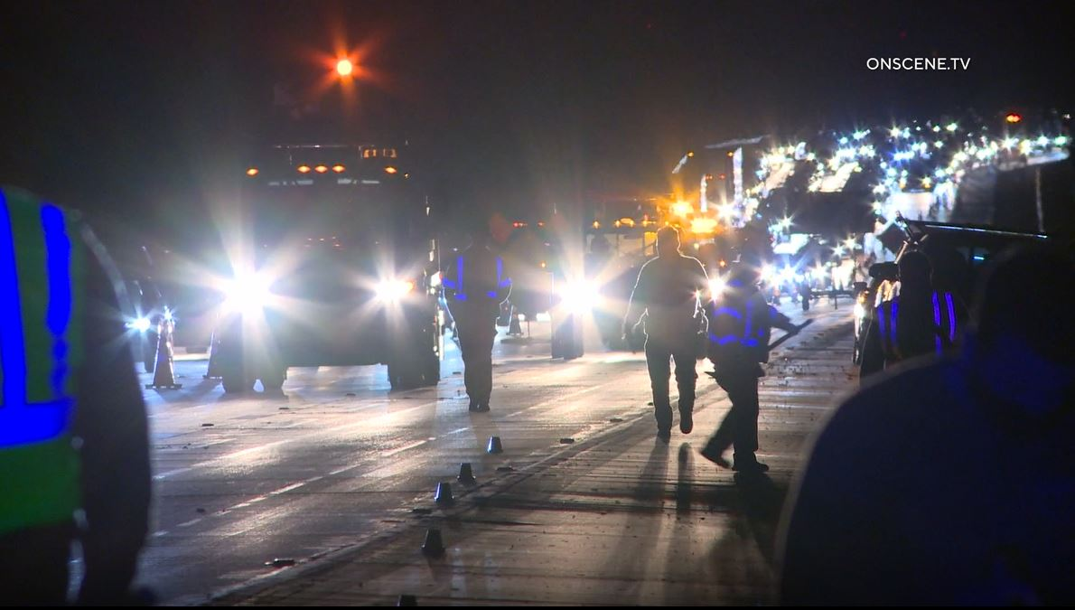 First responders at the scene of the crash