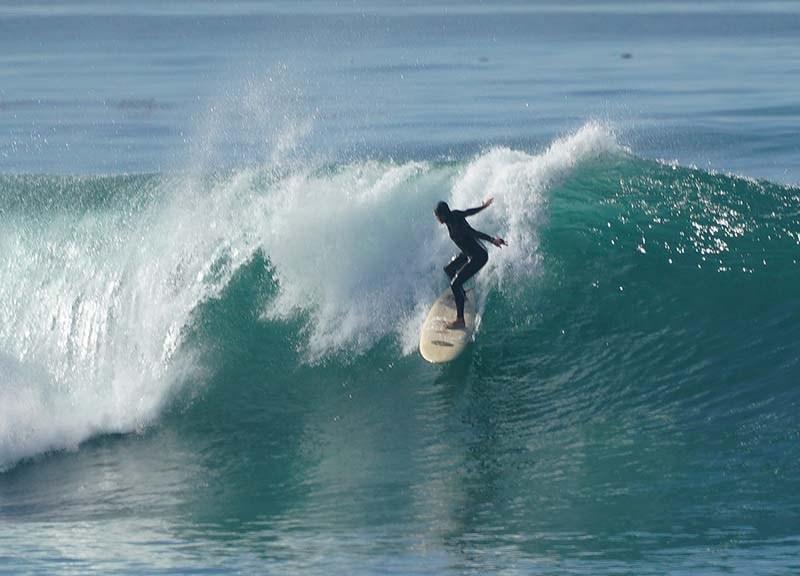 Waves as high as 10 feet were navigated by experienced surfers just north of Windansea onJan. 9.