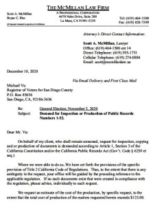 Scott McMillan's letter to San Diego County Registrar of Voters Michael Vu.