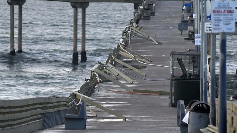 King Tide waves damaged the Ocean Beach Pier. The pier will be closed until it is repaired.