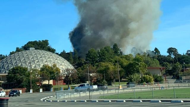 Smoke rises behind Palomar College