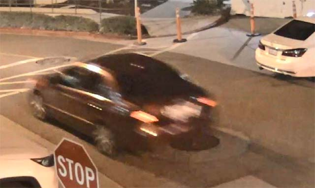 Surveillance photo of car that dropped off gunshot victim Dec. 30 in the ambulance lot of the Sharp Grossmont Hospital Emergency Room in La Mesa.