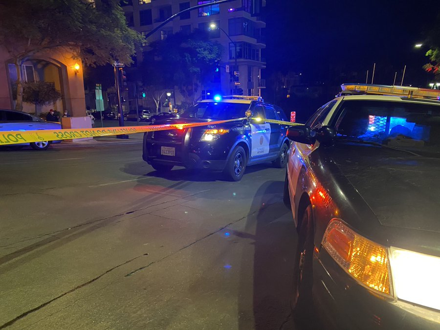 Police cruisers at the crime scene