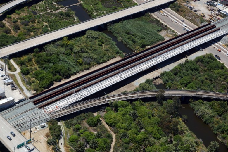 Aerial view of completed bridges