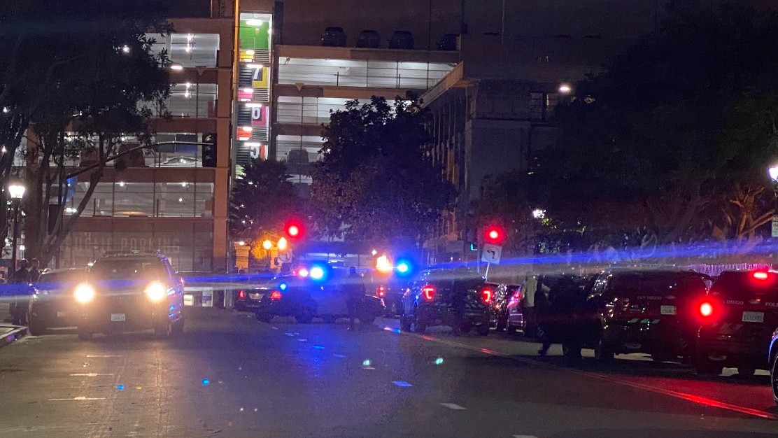 Police cruisers at scene of shooting
