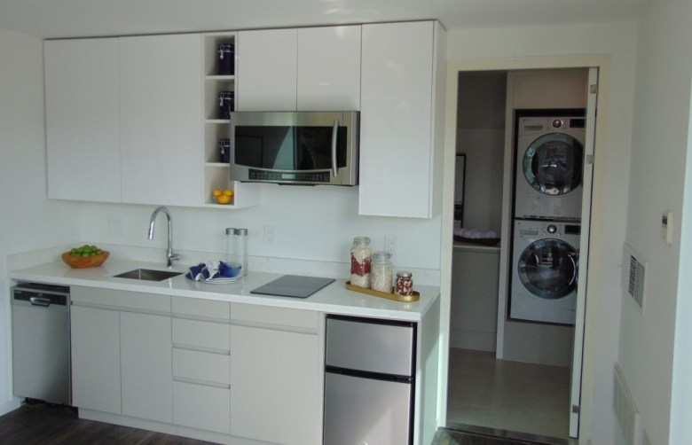 Kitchen and laundry of studio