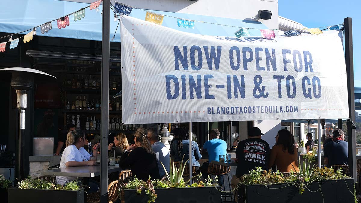 Patrons pack Blanco Tacos Tequila on the second floor of Fashion Valley on Feb. 6, 2021.