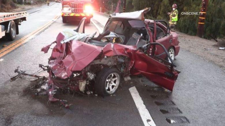 Wreckage of red Honda