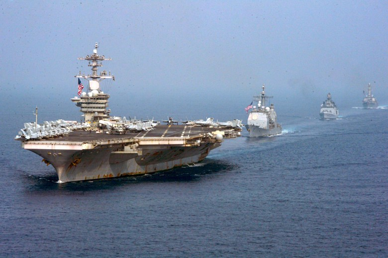 USS Theodore Roosevelt leads ships in the Indian Ocean