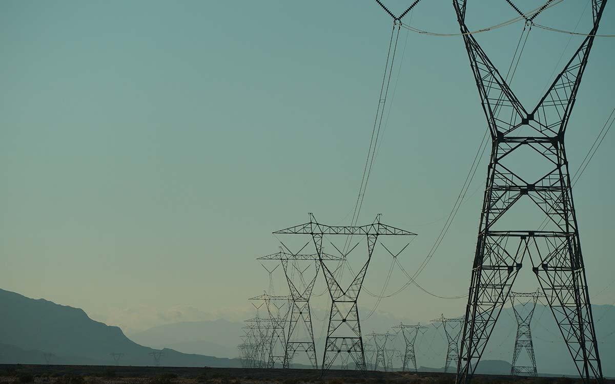 Power lines stretch across the desert in Imperial Valley.