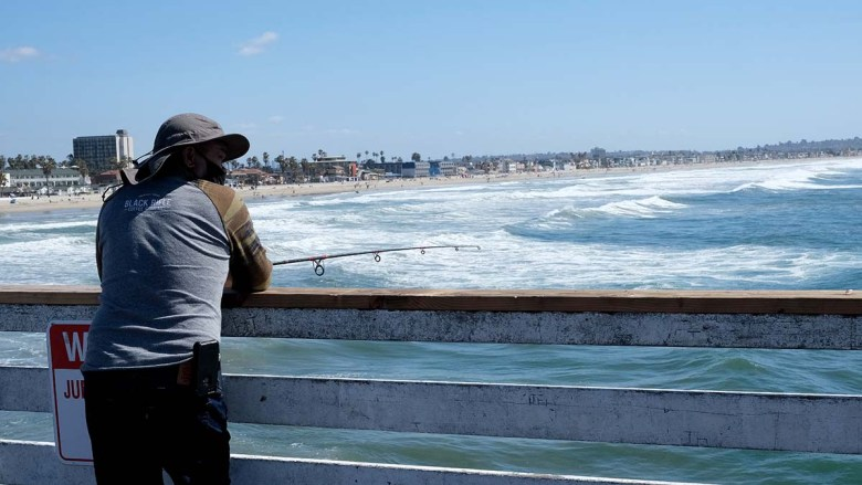 Fishermen try their luck on the Crystal Pier in Pacific Beach.