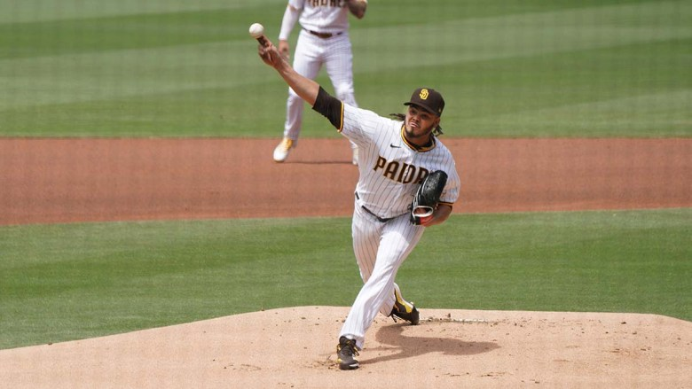 Dinelson Lamet pitches for the Padres in his first start of the season, but lasted only two innings. Photo by Chris Stone