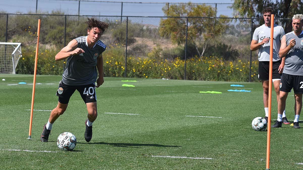 C.J. Fodrey scored a goal against the MSL LA Galaxy during a preseason game last month.