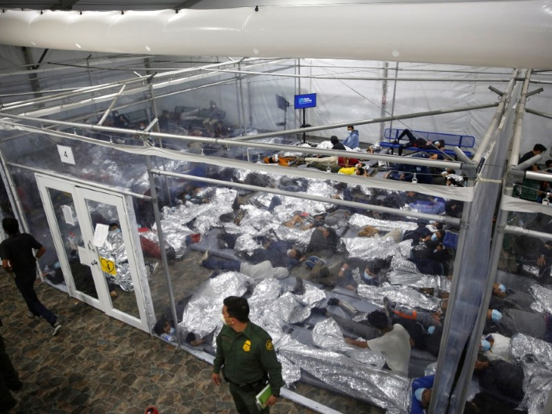 Migrant children in holding facility