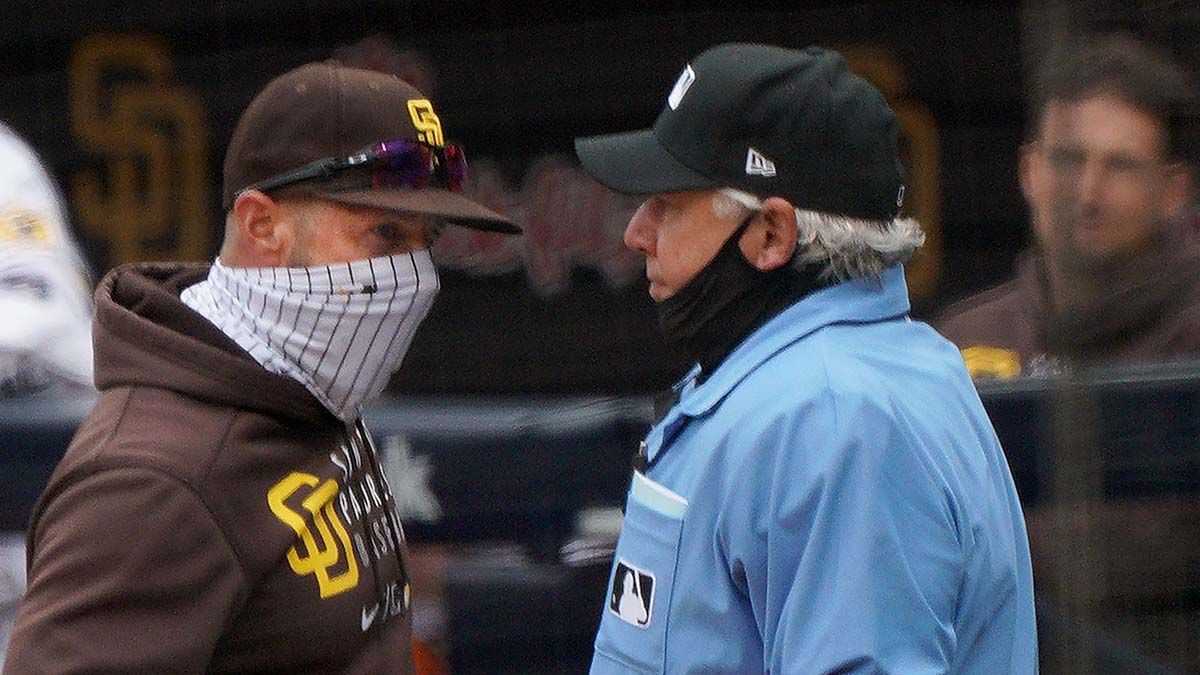 Padre Skipper Jayce Tingler gives the home plate umpire a look after being ejected.