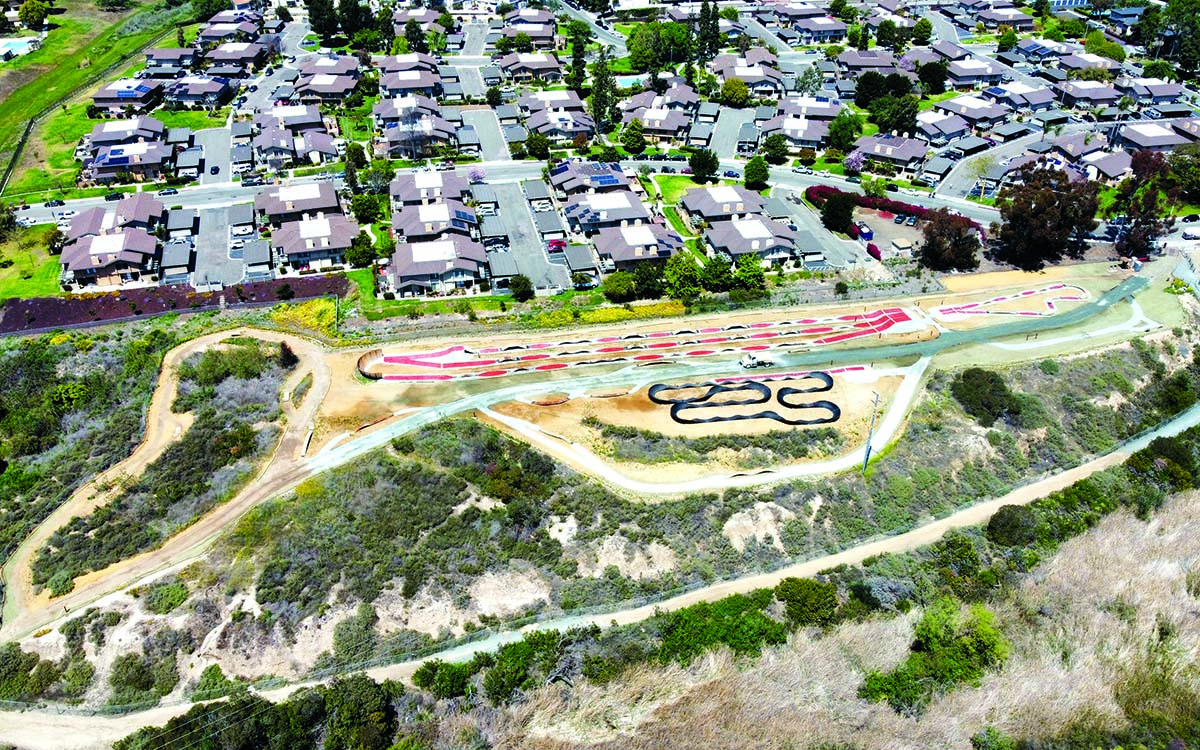 Aerial photo of the Greg Cox Bike Park in Otay Valley.