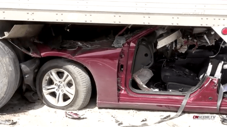 Speeding Dodge Charger plowed into rear of truck on I-15, the CHP said.