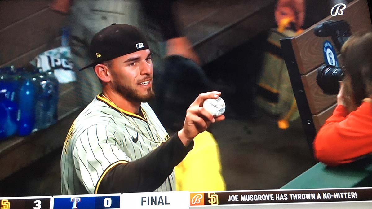 Joe Musgrove displays history-making ball after his no-hitter against the Texas Rangers.