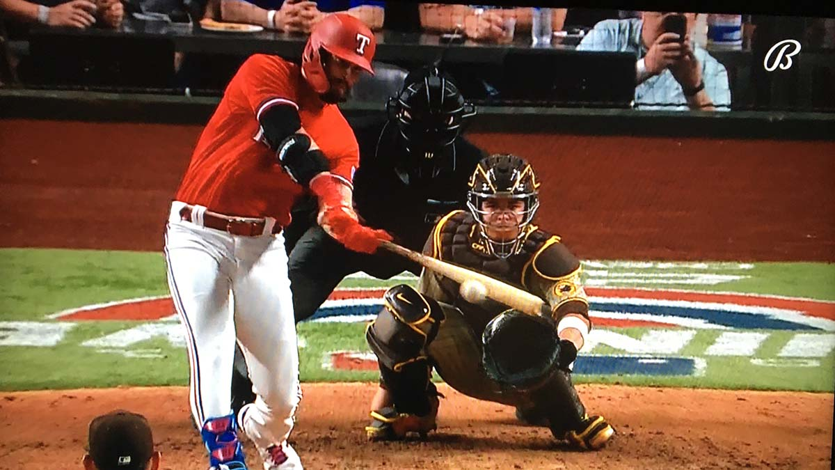 Texas Ranger connects with ball in Joe Musgrove's final pitch for the final out and first no-hitter in Padres history.