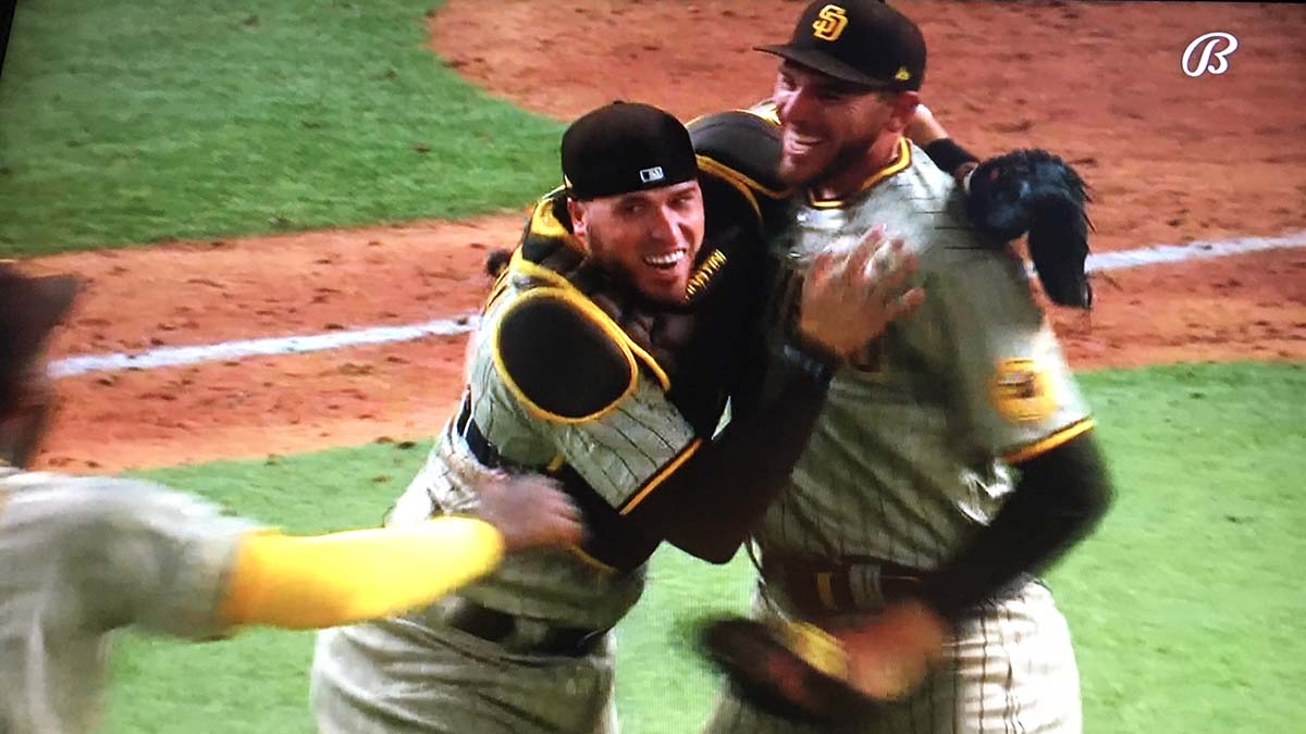 Catcher Victor Caratini, who caught a previous no-hitter, is first to congratulate Joe Musgrove.