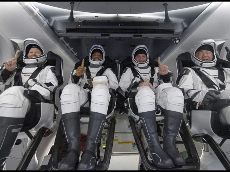 Astronauts prepare to leave the space station