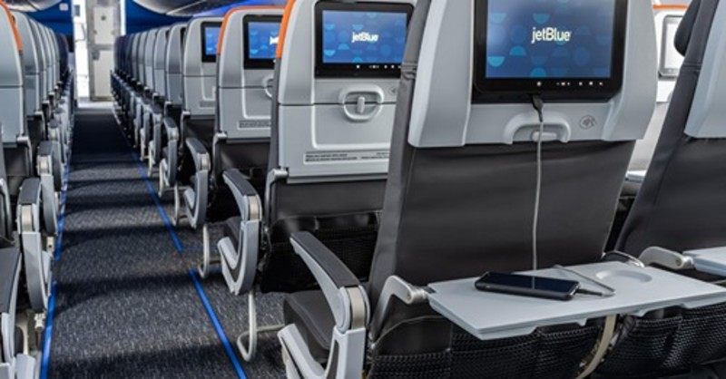 Video screens on an airliner